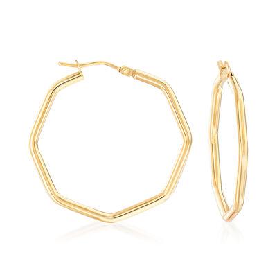 Italian Geometric Hoop Earrings in 14kt Yellow Gold