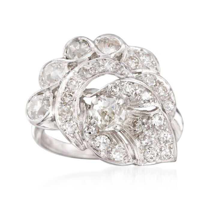 C. 1980 Vintage 1.50 ct. t.w. Diamond Ring in 14kt White Gold. Size 7.75, , default