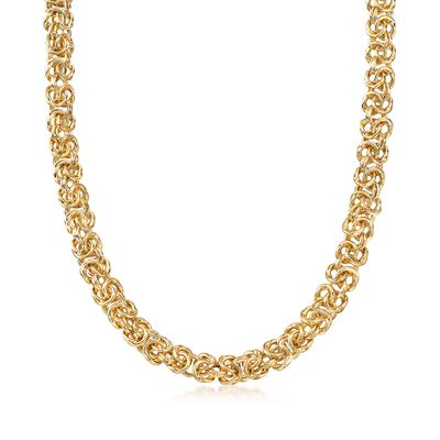 Italian Andiamo 14kt Yellow Gold Byzantine Necklace, , default