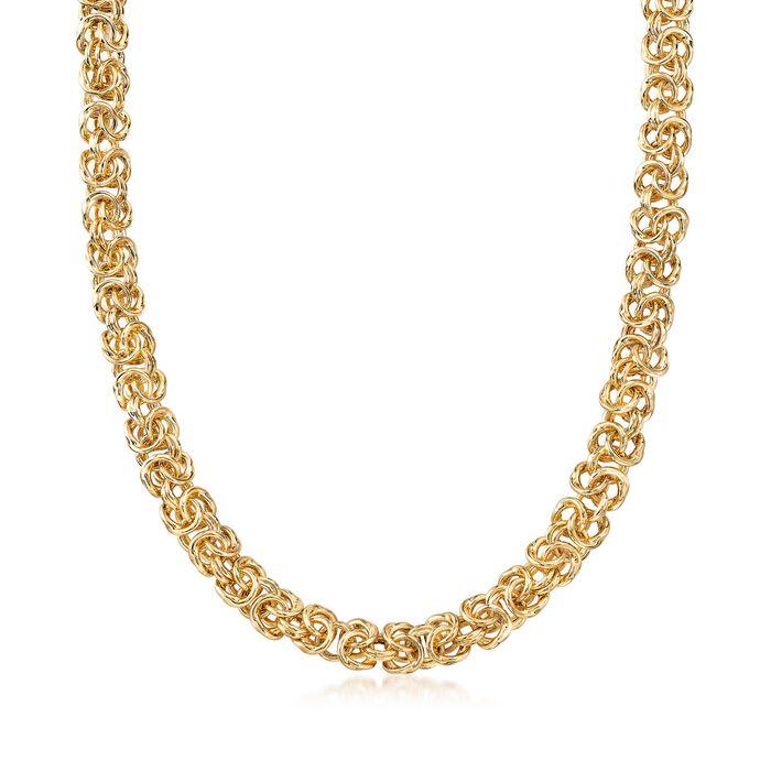 Italian Andiamo 14kt Yellow Gold Byzantine Necklace, , default