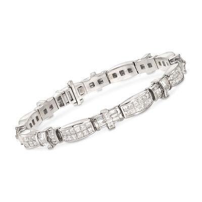 11.30 ct. t.w. Alternating Baguette and Princess Diamond Bracelet in 14kt White Gold, , default