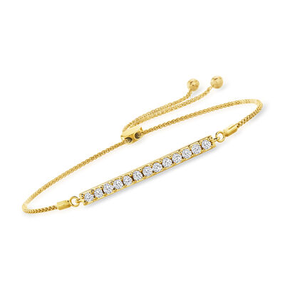 1.00 ct. t.w. Diamond Bar Bolo Bracelet in 18kt Gold Over Sterling
