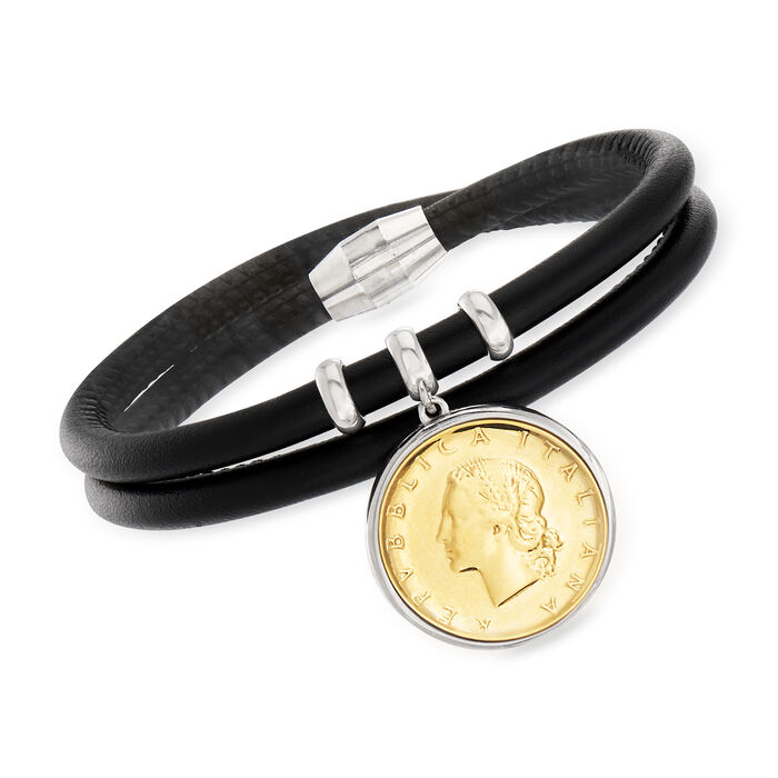 """Italian Genuine 20-Lira Coin Charm and Black Leather Bracelet with Sterling Silver. 7.5"""""""
