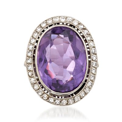 C. 1960 Vintage 11.90 Carat Amethyst and .70 ct. t.w. Diamond Ring in Platinum, , default