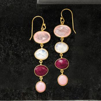 Multi-Gemstone Drop Earrings in 18kt Gold Over Sterling