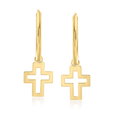 Italian 14kt Yellow Gold Endless Hoop Earrings with Removable Cross Charms