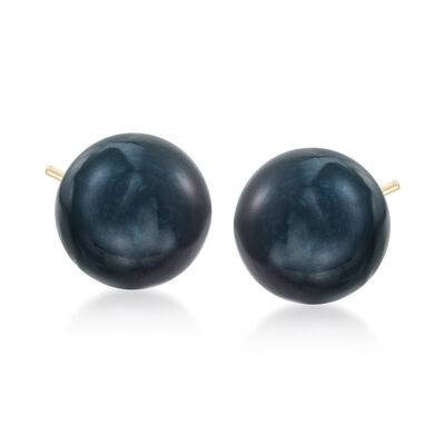 10-11mm Black Peacock Cultured Pearl Stud Earrings in 14kt Yellow Gold, , default