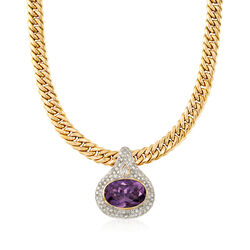 C. 1980 Vintage 15.45 Carat Amethyst and 2.80 ct. t.w. Diamond Curb-Link Necklace in 18kt Gold, , default