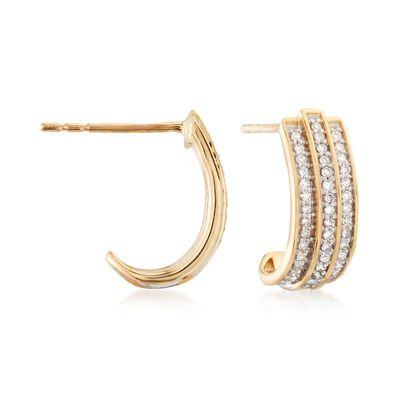 .20 ct. t.w. Diamond J-Hoop Earrings in 14kt Yellow Gold , , default