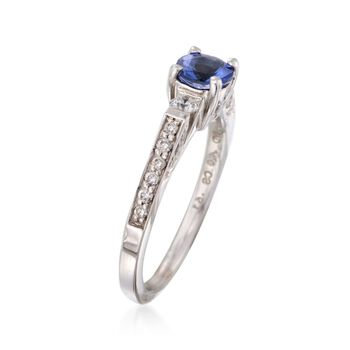 C. 2000 Vintage .61 Carat Tanzanite and .40 ct. t.w. Diamond Ring in 18kt White Gold. Size 7, , default