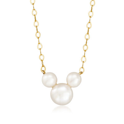 Child's Disney 3-5.5mm Cultured Pearl Mickey Mouse Necklace in 14kt Yellow Gold, , default