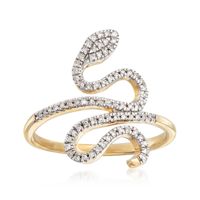 .15 ct. t.w. Diamond Snake Ring in 14kt Yellow Gold, , default
