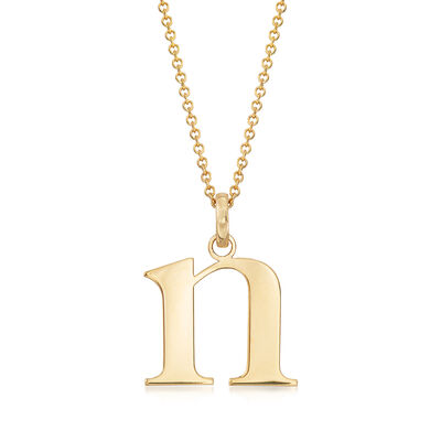 """14kt Yellow Gold """"N"""" Single Initial Necklace, , default"""
