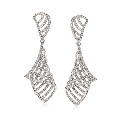 1.45 ct. t.w. Diamond Geometric Drop Earrings in 14kt White Gold , , default