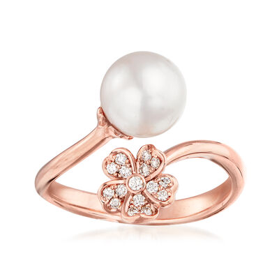 "Mikimoto ""Cherry Blossom"" 8mm A+ Akoya Pearl and .11 ct. t.w. Diamond Bypass Ring in 18kt Rose Gold"