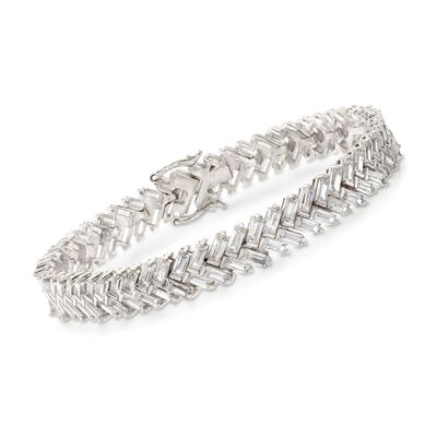 15.00 ct. t.w. Baguette CZ Double Row Bracelet in Sterling Silver, , default