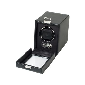 """""""Heritage"""" Black Faux Leather Single Watch Winder With Cover by Wolf Designs, , default"""