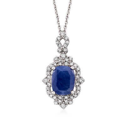 3.30 Carat Sapphire and .30 ct. t.w. Diamond Pendant Necklace in 14kt White Gold