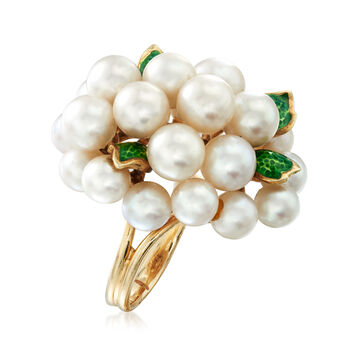C. 1970 Vintage Cultured Pearl and Green Enamel Cluster Ring in 14kt Yellow Gold. Size 6, , default