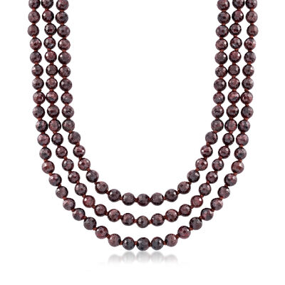 Italian 8mm Three-Strand Garnet Bead Necklace with 18kt Gold Over Sterling, , default