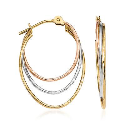 14kt Tri-Colored Gold Triple-Hoop Earrings, , default