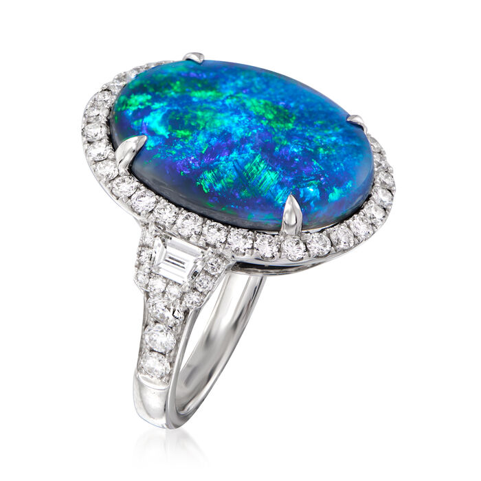 Black Opal and 1.49 ct. t.w. Diamond Cocktail Ring in 18kt White Gold