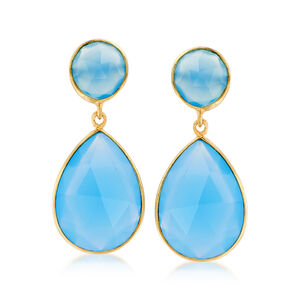 Blue Chalcedony Drop Earrings in 18kt Gold Over Sterling #933887
