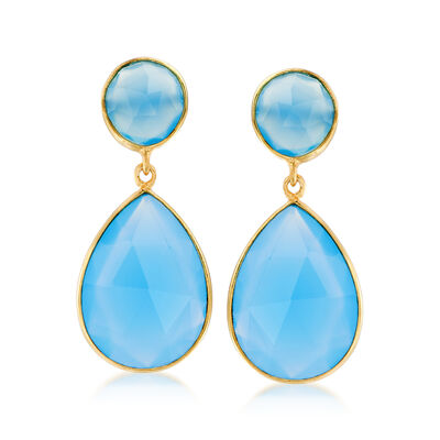 Blue Chalcedony Drop Earrings in 18kt Gold Over Sterling