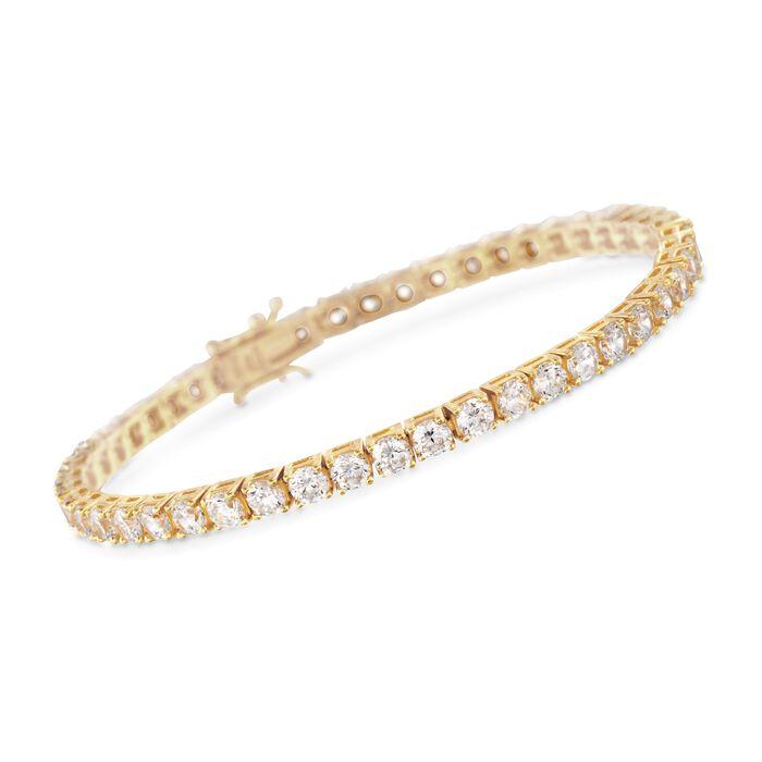 """9.00 ct. t.w. CZ Tennis Bracelet in 14kt Gold Over Sterling. 8"""", , default"""