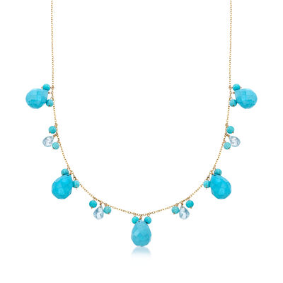 Magnesite and 4.80 ct. t.w. Blue Topaz Necklace With Turquoise in 14kt Yellow Gold, , default