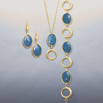 "5.50 Carat Blue Quartz and Open Circle Pendant Necklace in 14kt Yellow Gold. 18"", , default"