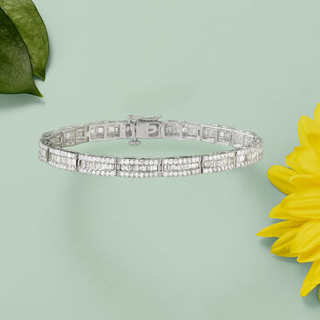 5.00 ct. t.w. Round and Baguette Diamond Bracelet in 14kt White Gold