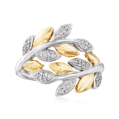 .13 ct. t.w. Diamond Bypass Leaf Ring in Sterling Silver and 14kt Yellow Gold, , default