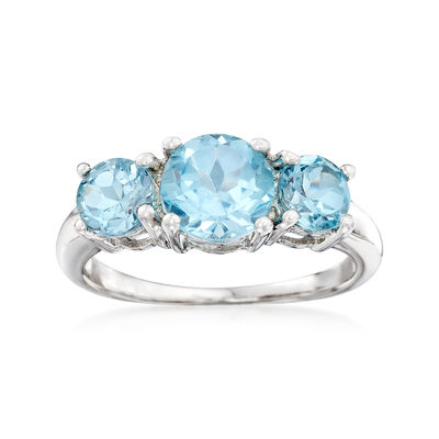 2.60 ct. t.w. Blue Topaz Three-Stone Ring in Sterling Silver, , default