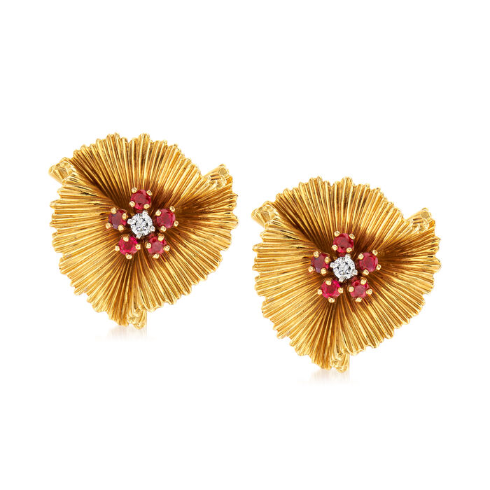 C. 1960 Vintage Tiffany Jewelry .60 ct. t.w. Ruby and .15 ct. t.w. Diamond Flower Earrings in 18kt Yellow Gold, , default