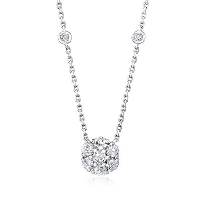 C. 1990 Vintage .96 ct. t.w. Diamond Flower Necklace in 14kt White Gold, , default