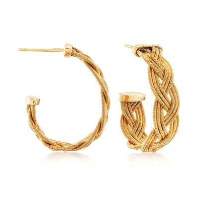 Italian 18kt Yellow Gold Over Sterling Silver Braided J-Hoop Earrings, , default