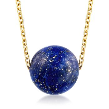"""Lapis Bead Necklace in 18kt Gold Over Sterling. 18"""", , default"""