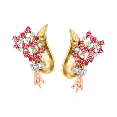 C. 1950 Vintage 1.35 ct. t.w. Ruby and .40 ct. t.w. Diamond Flower Bouquet Earrings in 14kt Tri-Colored Gold