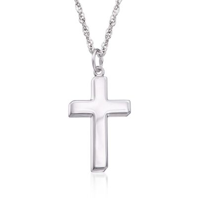 Men's Sterling Silver Cross Pendant Necklace, , default