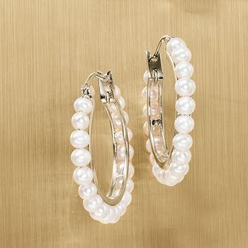 3-3.5mm Cultured Pearl Hoop Earrings in Sterling Silver, , default
