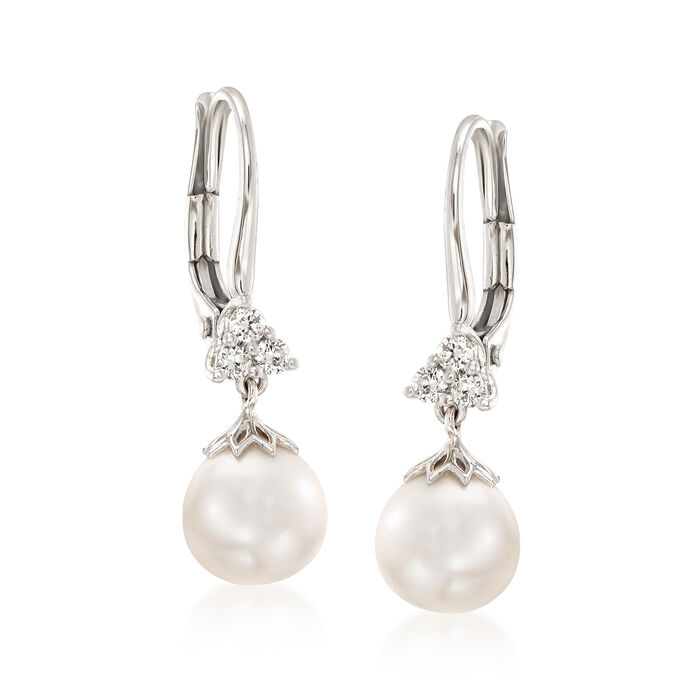 Gabriel Designs 7.3mm Cultured Pearl and .15 ct. t.w. Diamonds in 14kt White Gold, , default