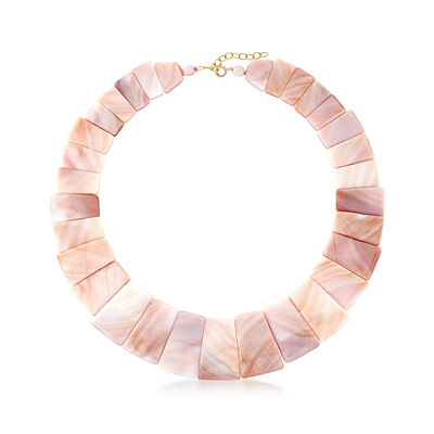 Graduated Pink Mother-Of-Pearl Necklace with 14kt Yellow Gold, , default