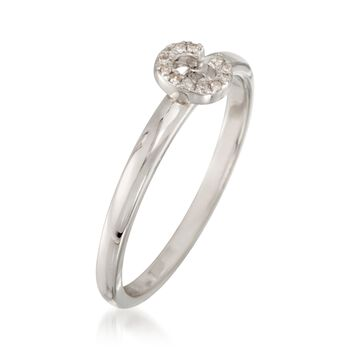 """Diamond Accent Mini Initial """"C"""" Ring in Sterling Silver, , default"""