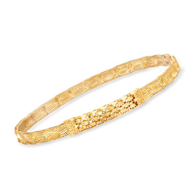 Italian 14kt Yellow Gold and Silicone Bar Mesh Bracelet, , default