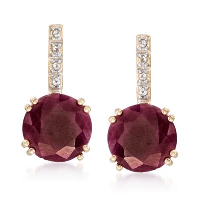 10.00 ct. t.w. Ruby Earrings with White Topaz Accents in 14kt Gold Over Sterling, , default
