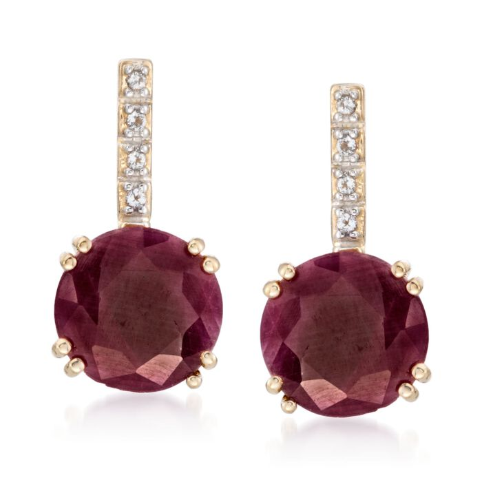 10.00 ct. t.w. Ruby Earrings with White Topaz Accents in 14kt Gold Over Sterling , , default