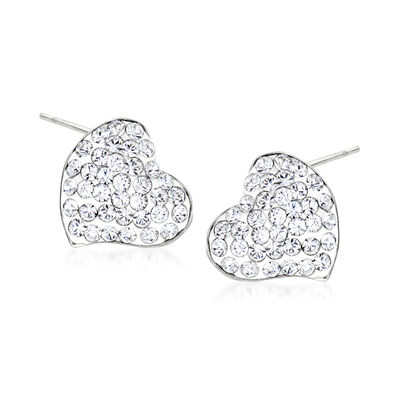 Crystal and White Enamel Heart Earrings in Sterling Silver