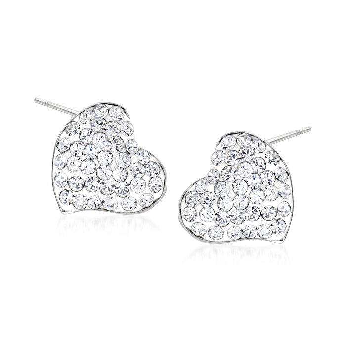 Crystal and White Enamel Heart Earrings in Sterling Silver, , default