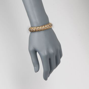"""C. 1970 Vintage 3.00 ct. t.w. Fancy Link Wide Diamond  Bracelet in 18kt Yellow Gold. 7"""", , default"""